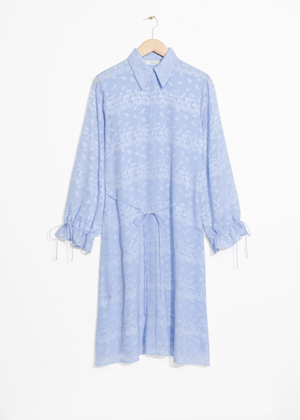 Front image of Stories cinched jacquard dress in blue
