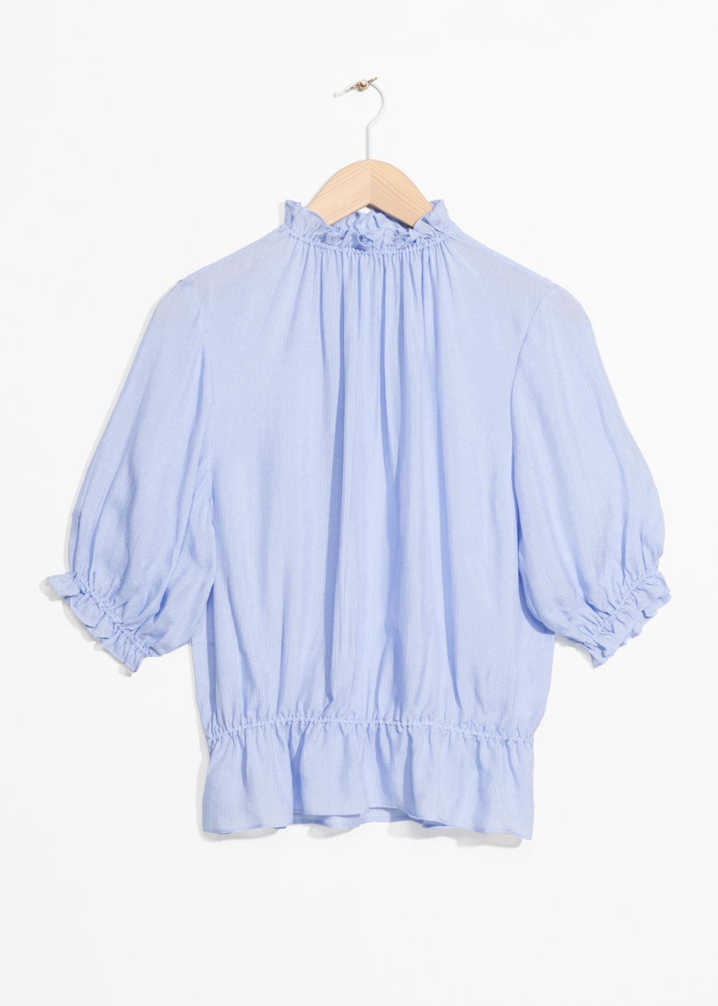 Front image of Stories gathered high neck blouse in blue