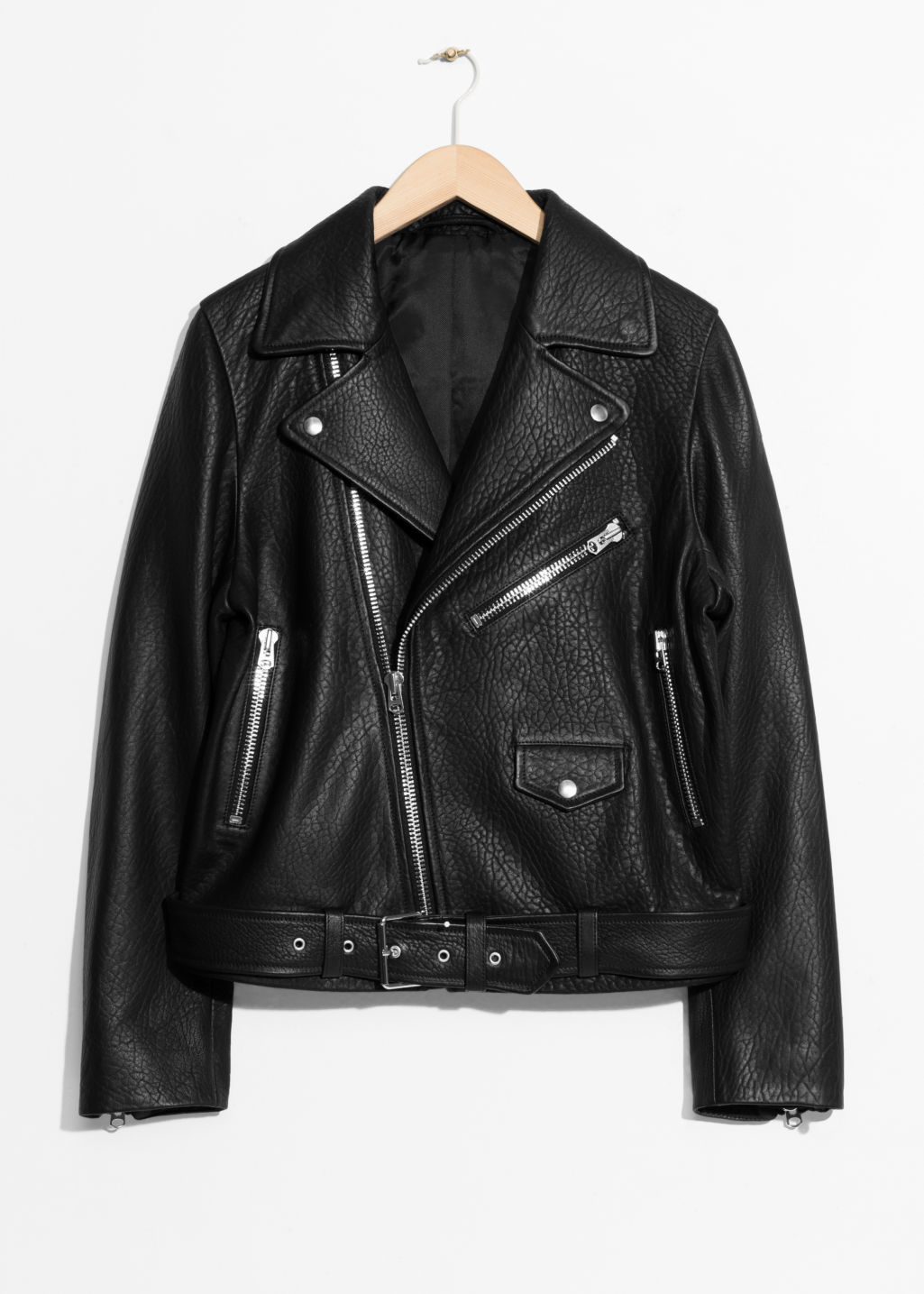 Front image of Stories leather biker jacket in black