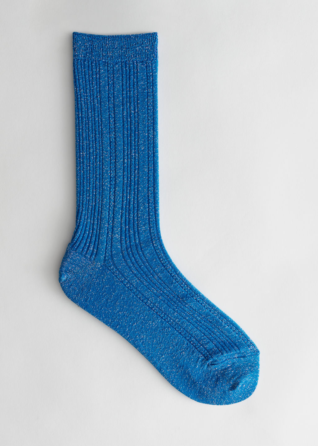 Front image of Stories metallic ankle socks in blue