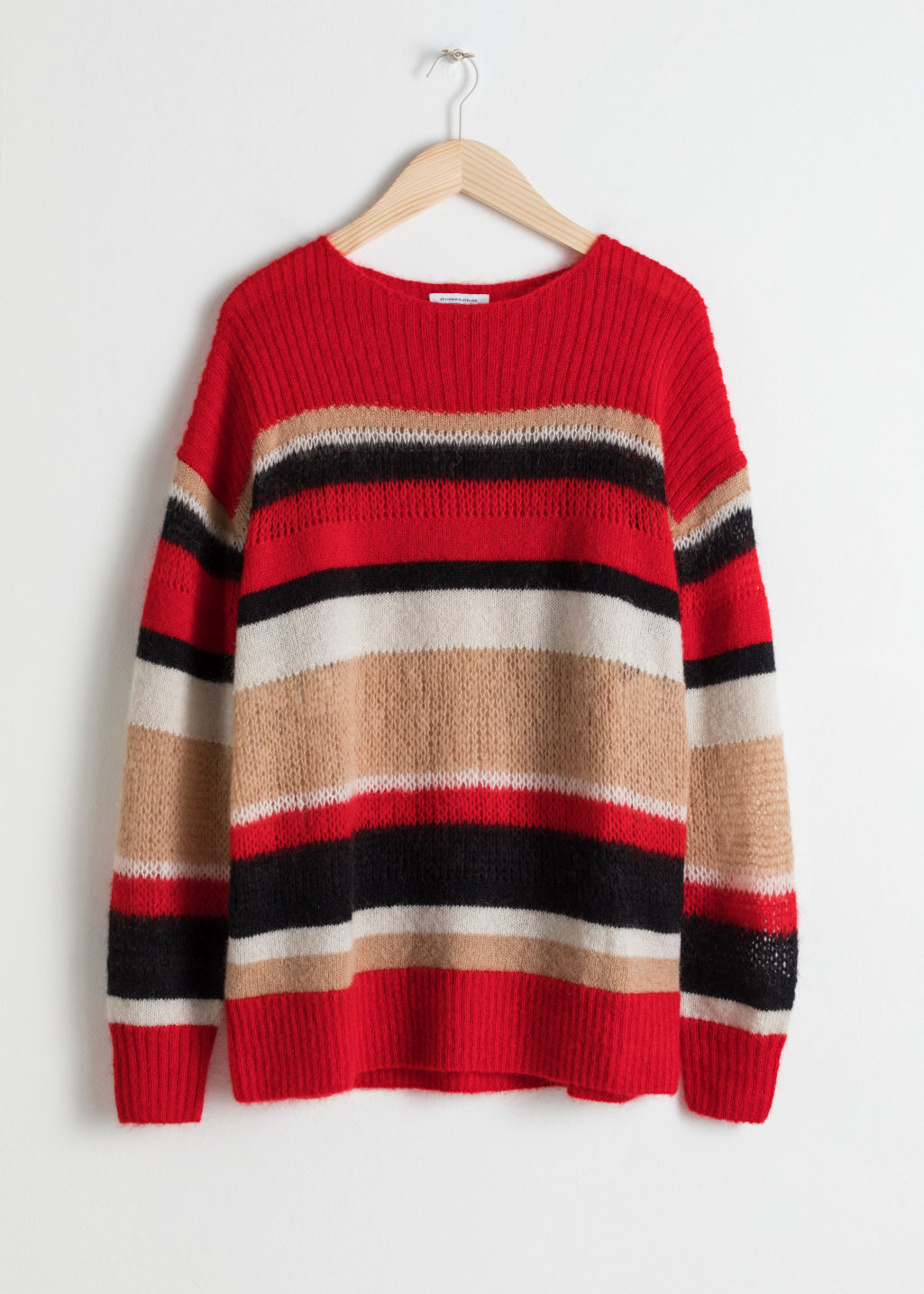 Front image of Stories mohair blend striped sweater in red