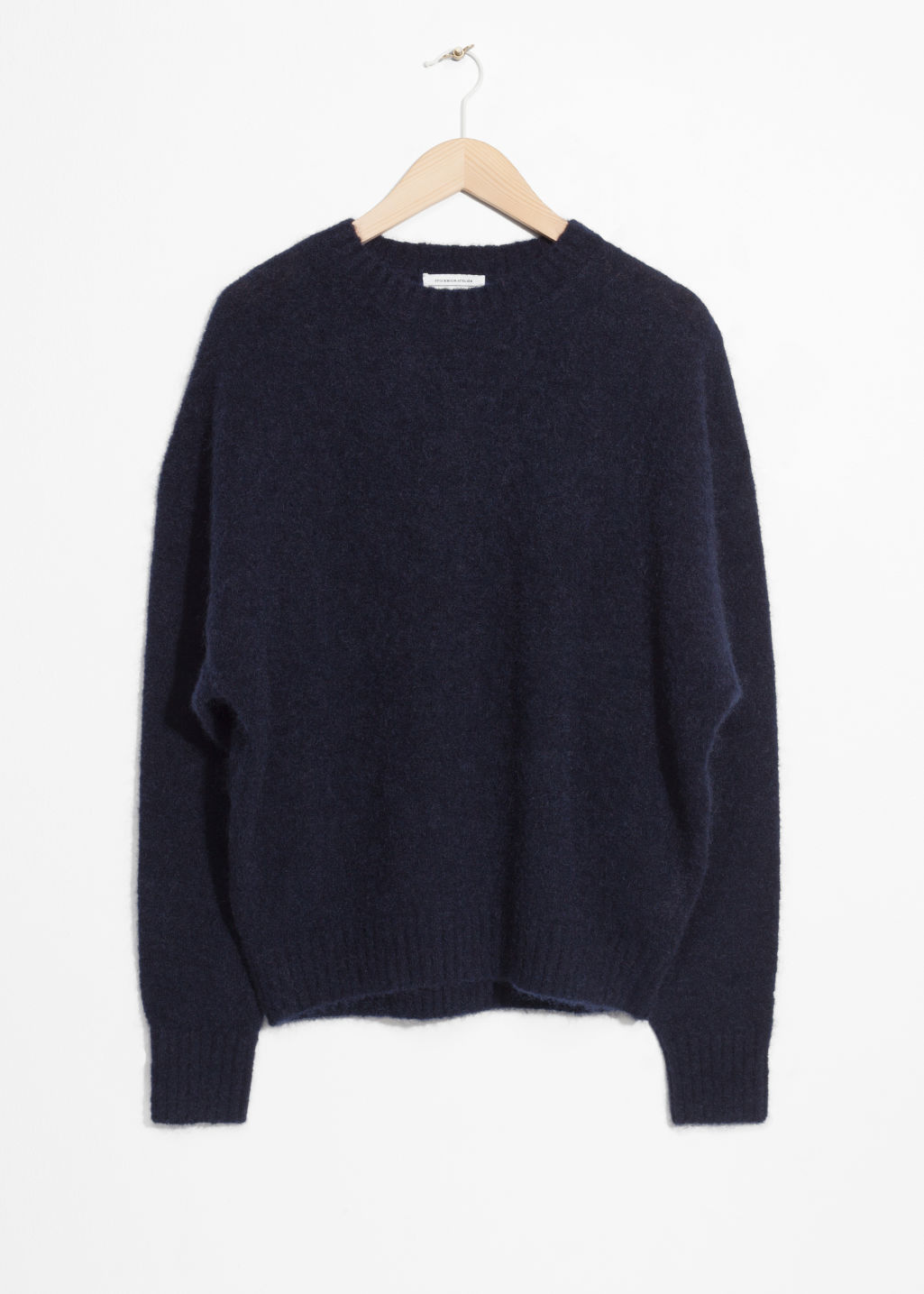 Front image of Stories wool blend sweater in blue