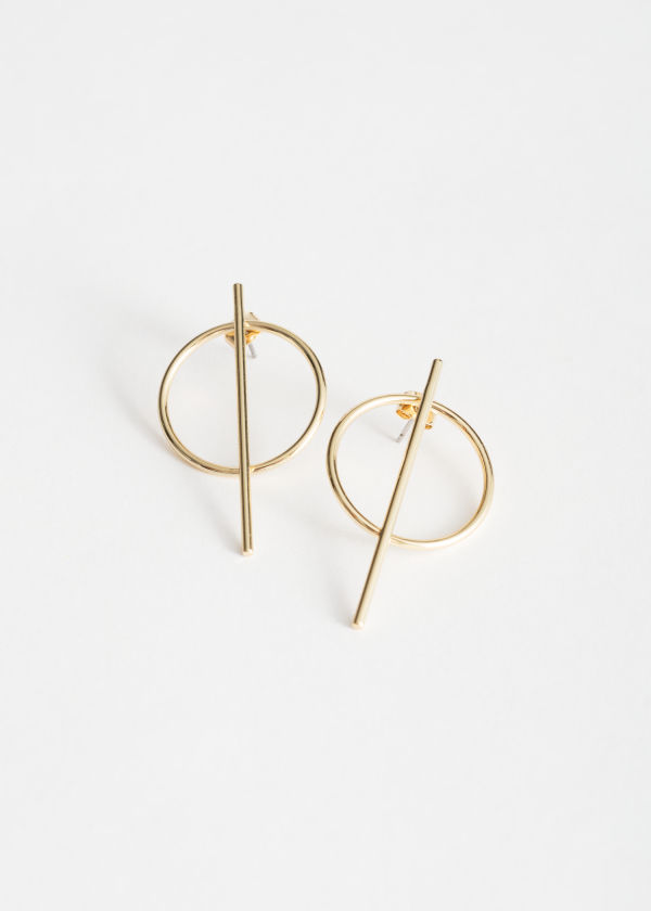 Front image of Stories hoop & bar earrings in gold