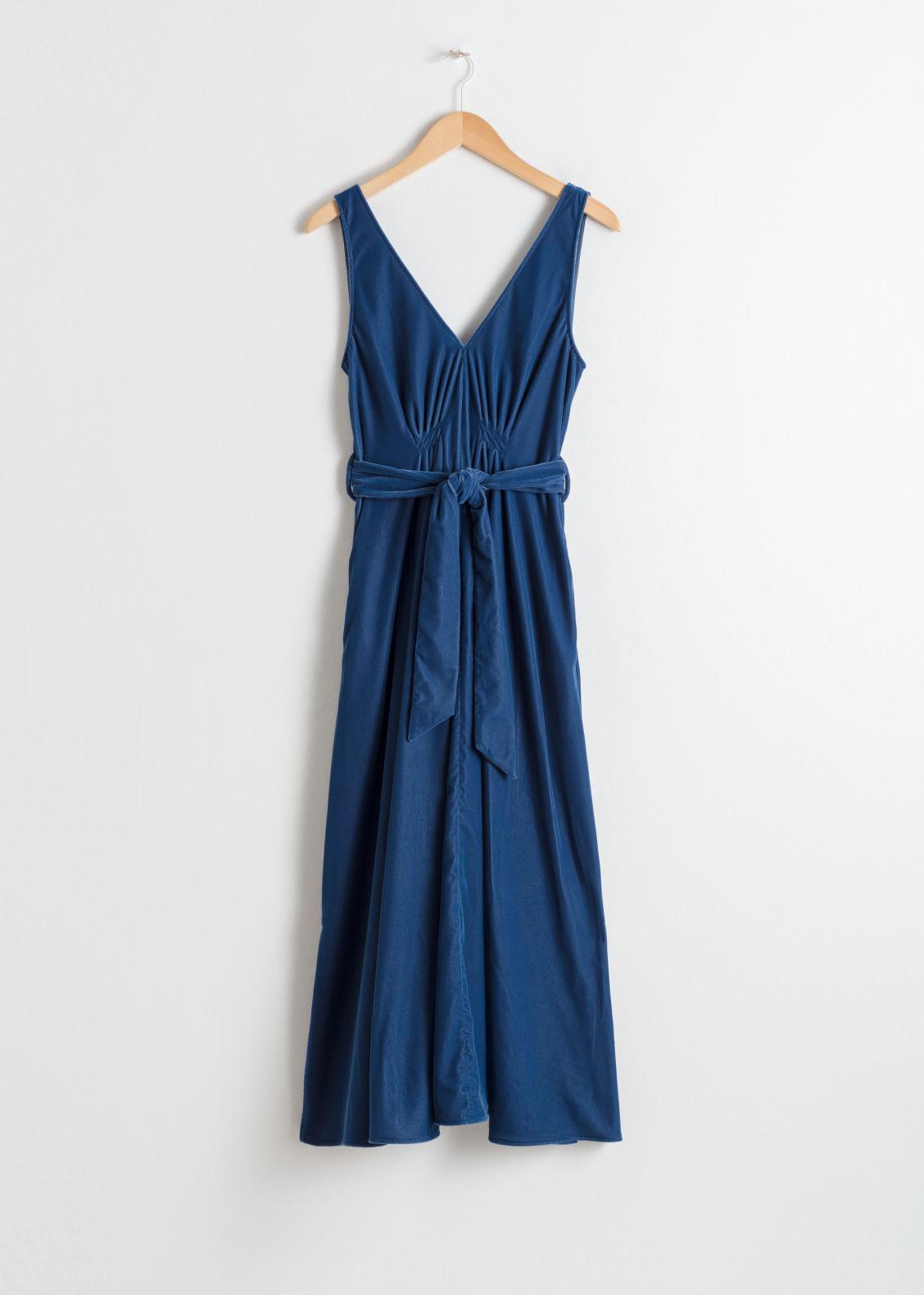 78afc3964aeb Belted Velvet Midi Dress - Blue - Midi dresses - & Other Stories