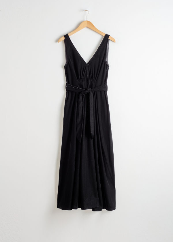 Front image of Stories belted velvet midi dress in black