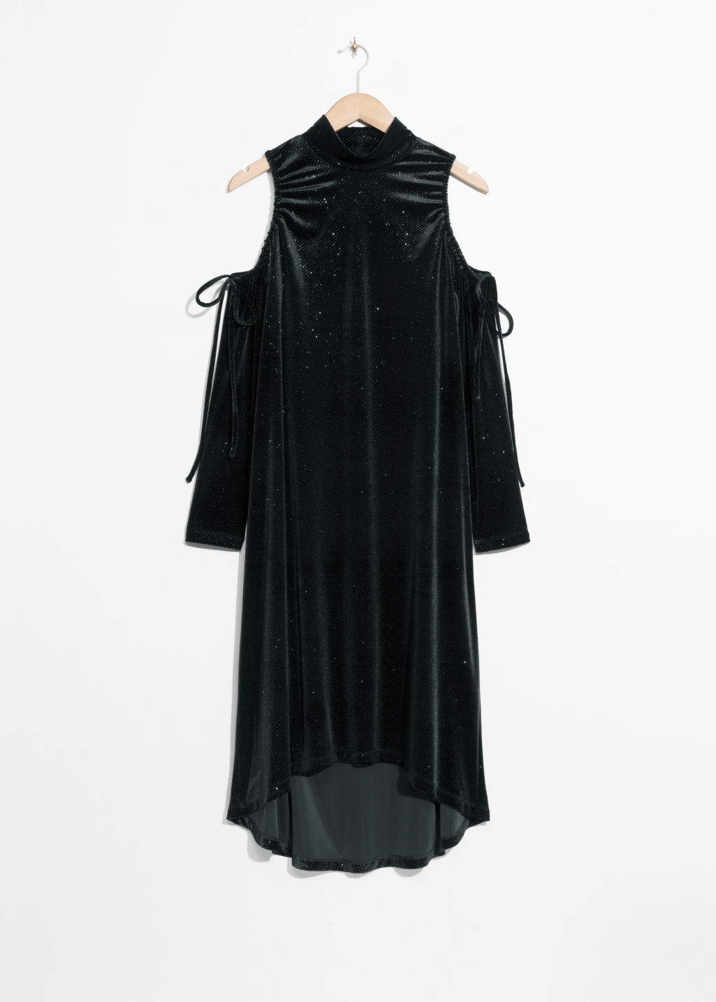 Front image of Stories velour cut-out shoulders dress in black