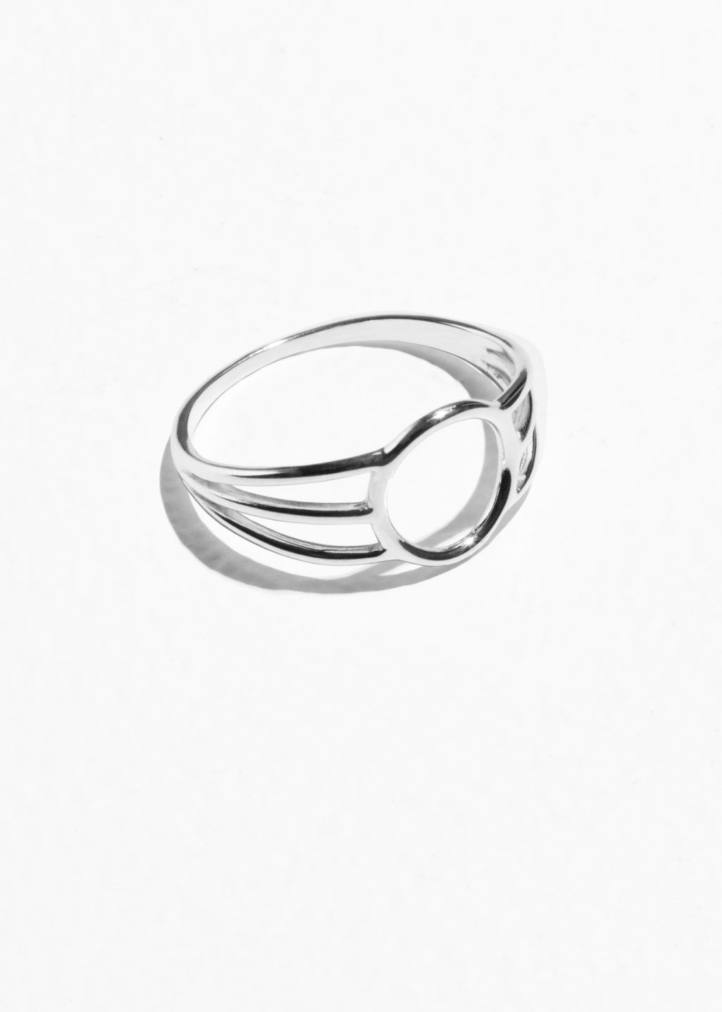 Front image of Stories triple band circle ring in silver