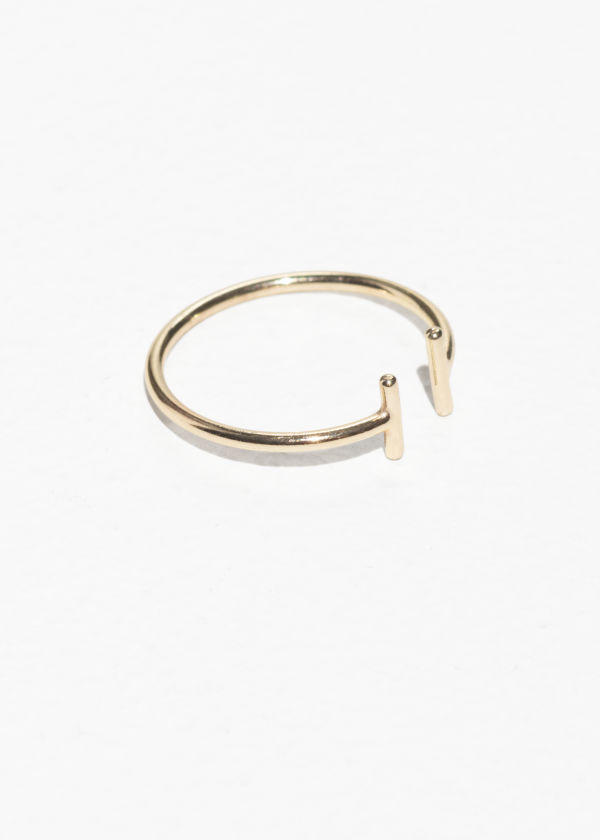 Front image of Stories open duo bar ring in gold