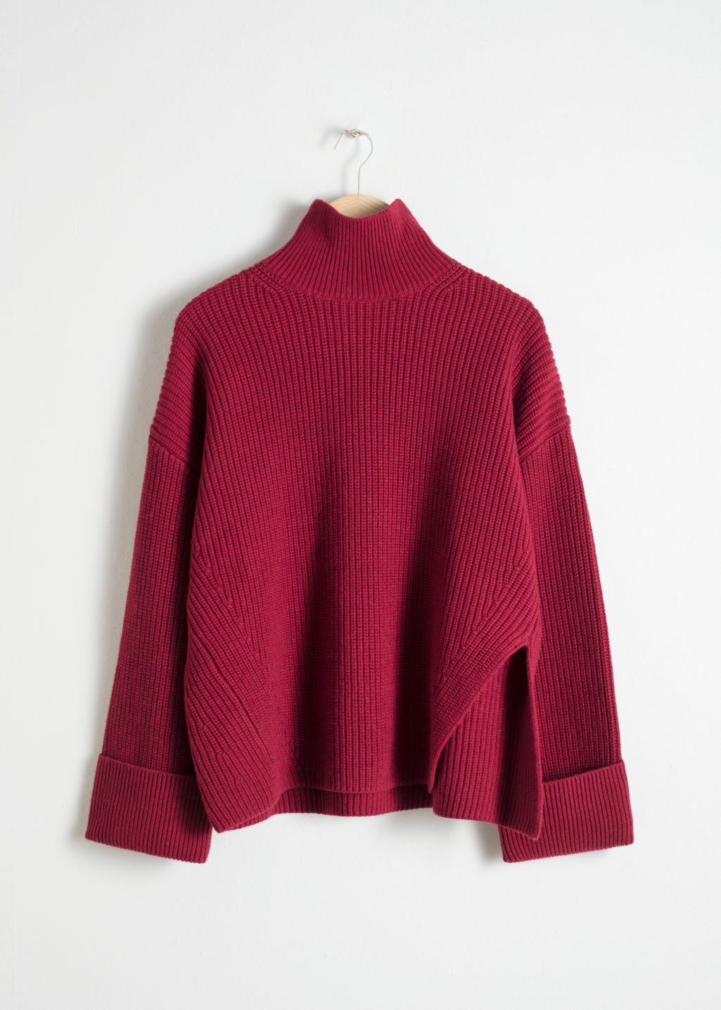 Front image of Stories oversized side-slit turtleneck in red