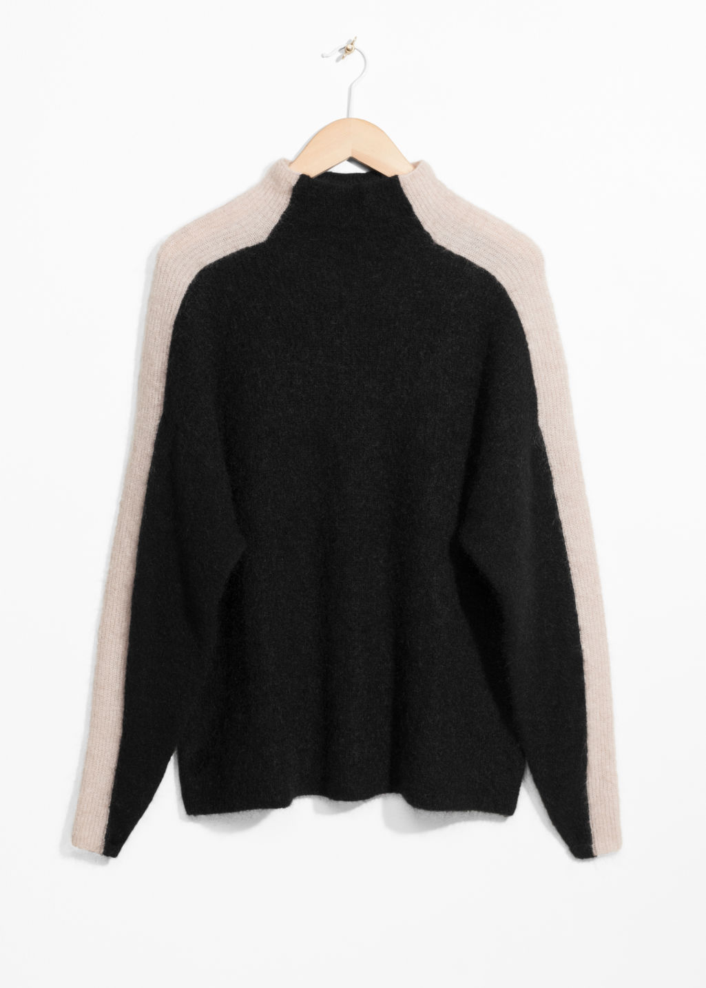 Front image of Stories contrasting racer stripe sweater  in black