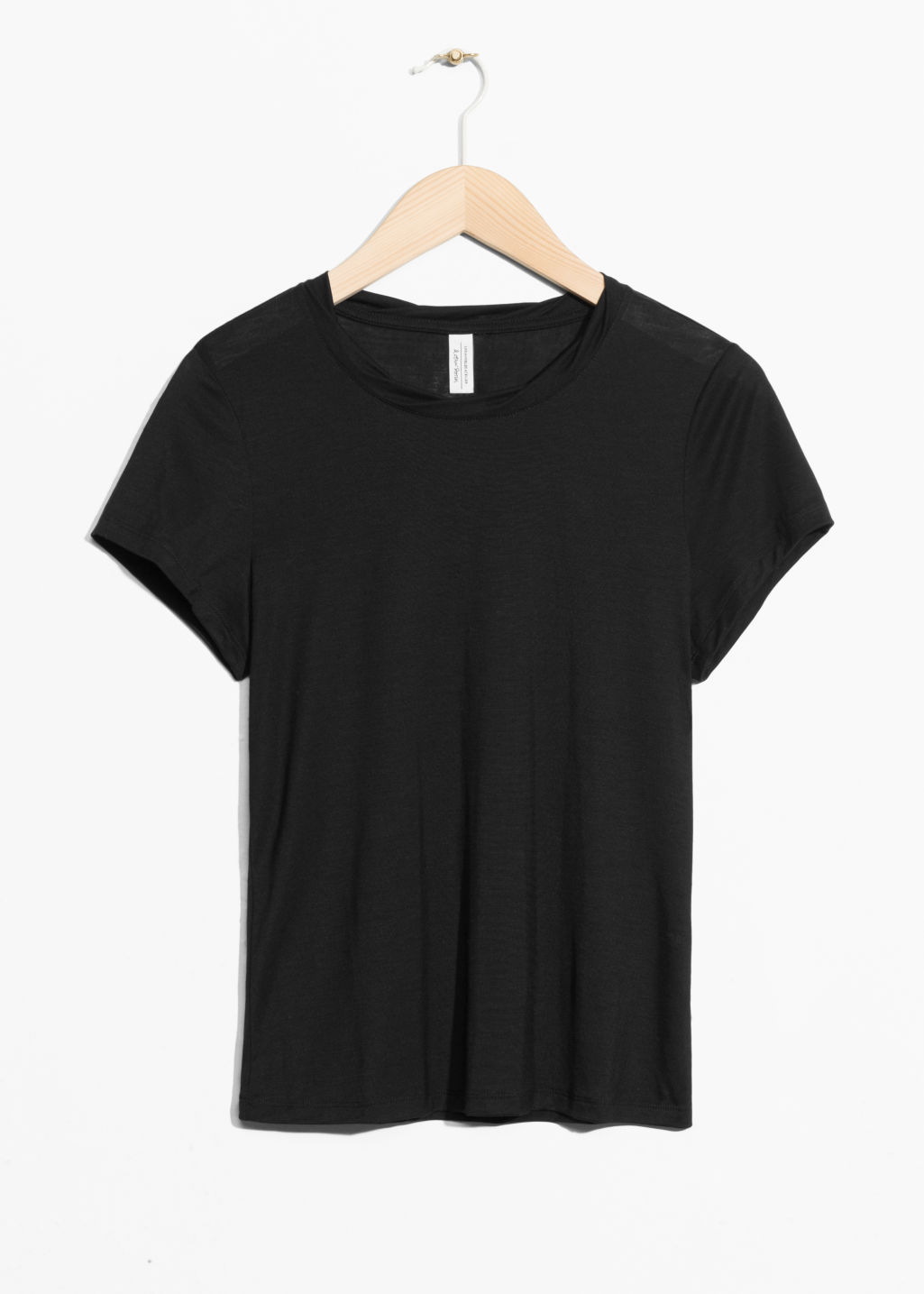 Front image of Stories neckband twist top in black