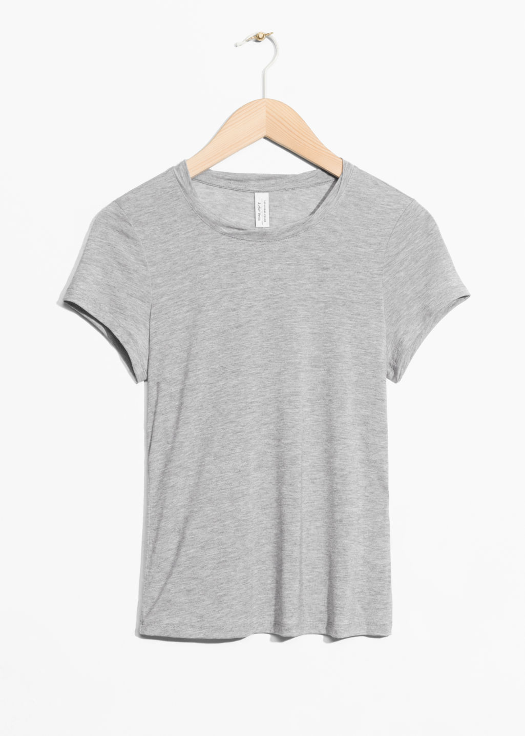 Front image of Stories neckband twist top in grey