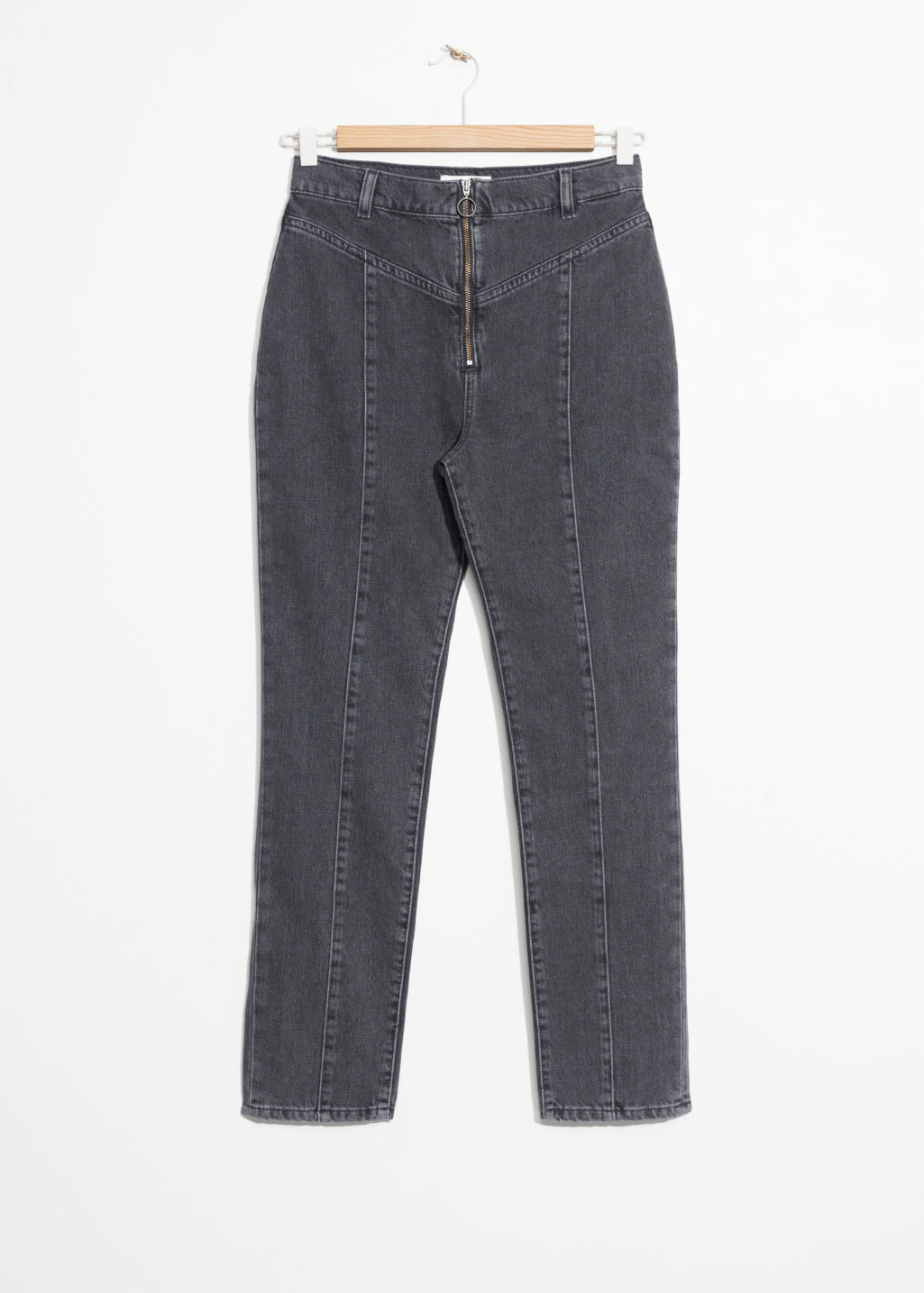 Front image of Stories high-rise denim jeans in black