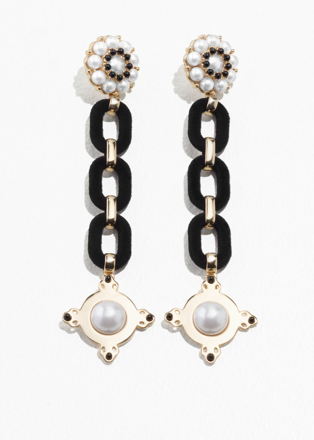 Front image of Stories statement chain earrings in black