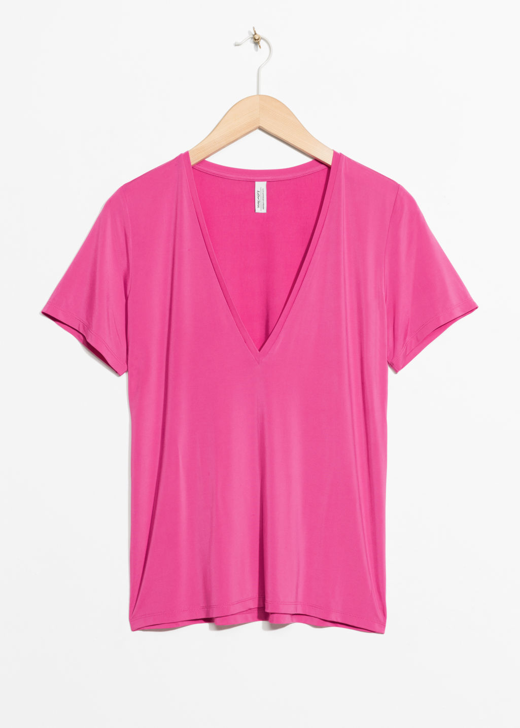Front image of Stories v-neck cupro top in pink