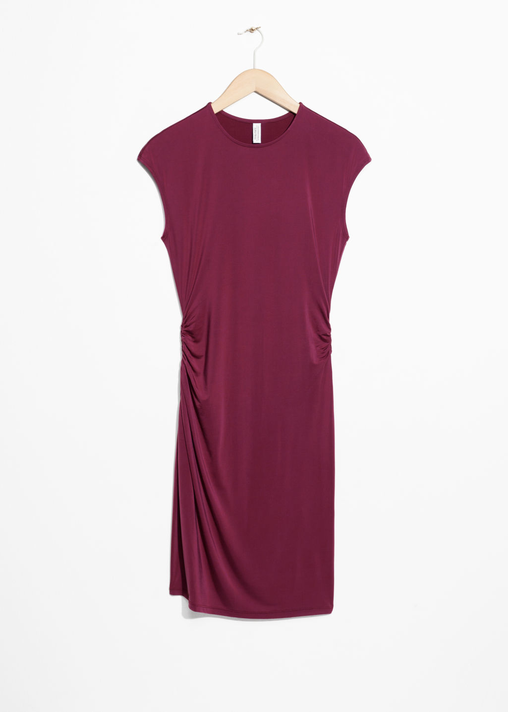 Front image of Stories drape dress in red