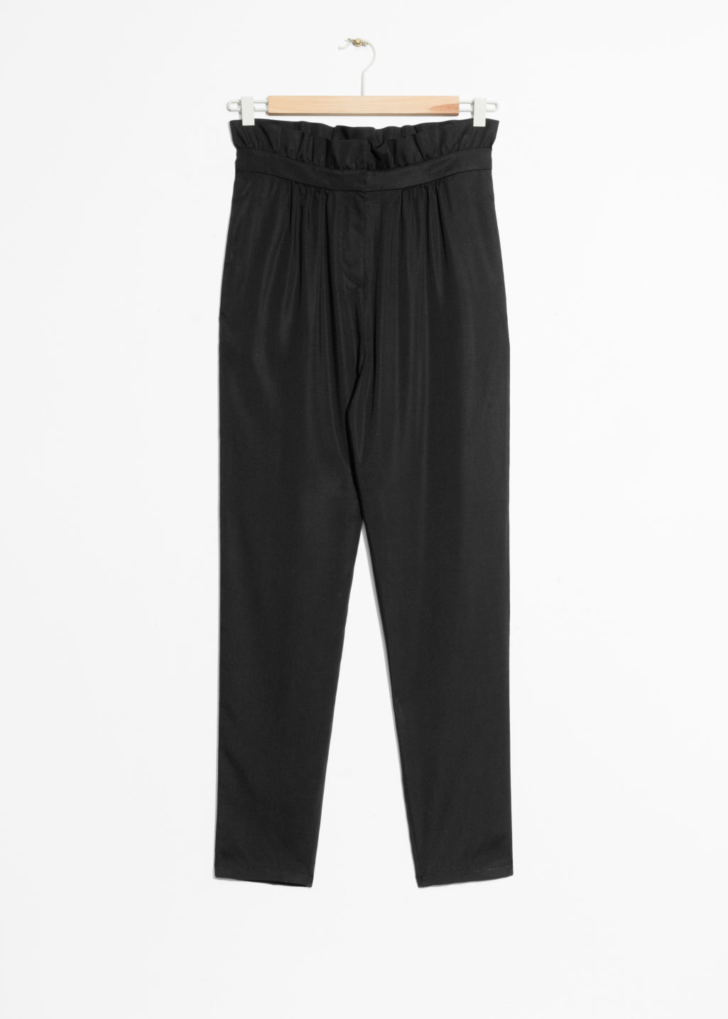 Front image of Stories paperbag waist trousers in black