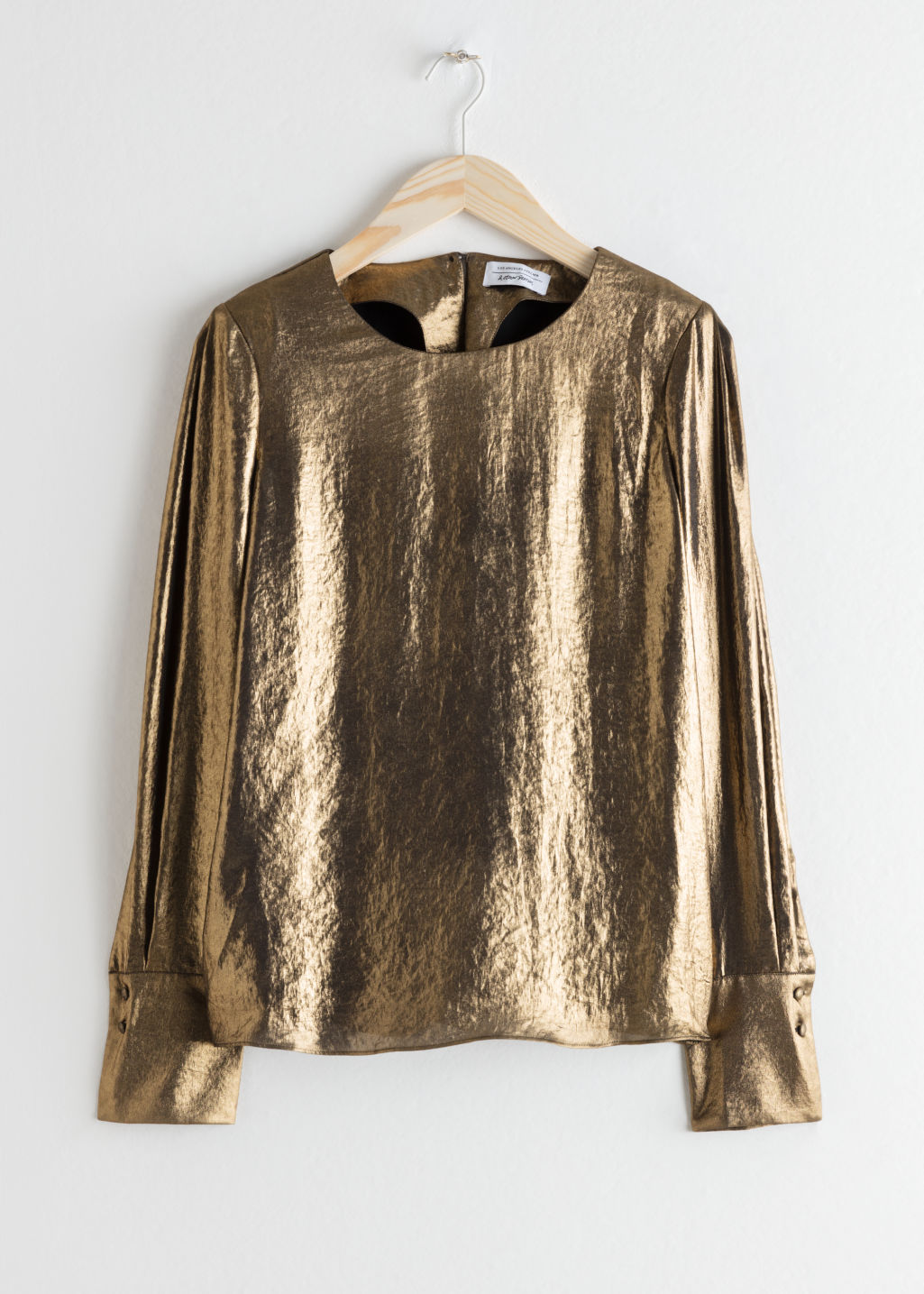 Front image of Stories metallic satin blouse  in gold