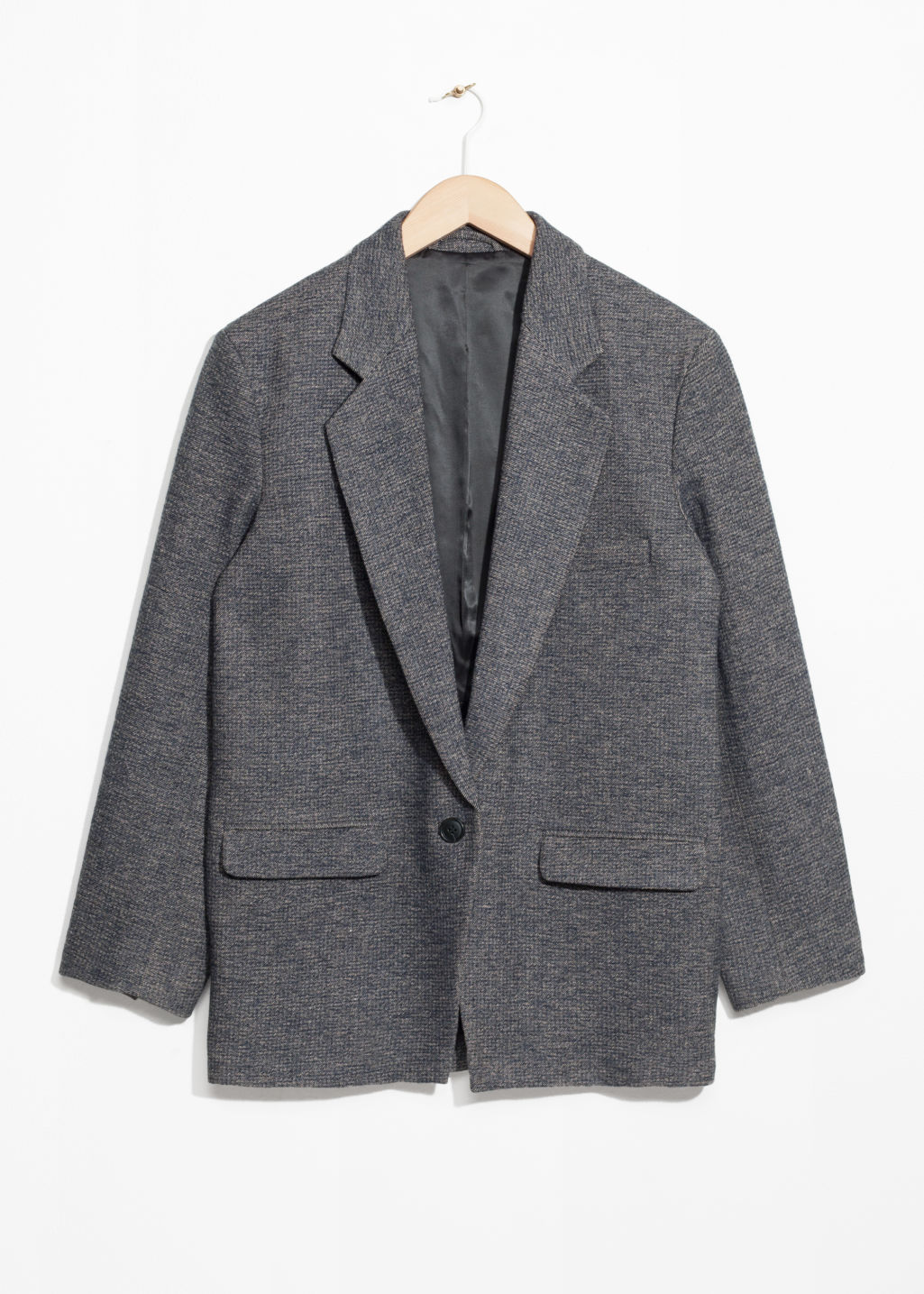 Front image of Stories oversized blazer in blue