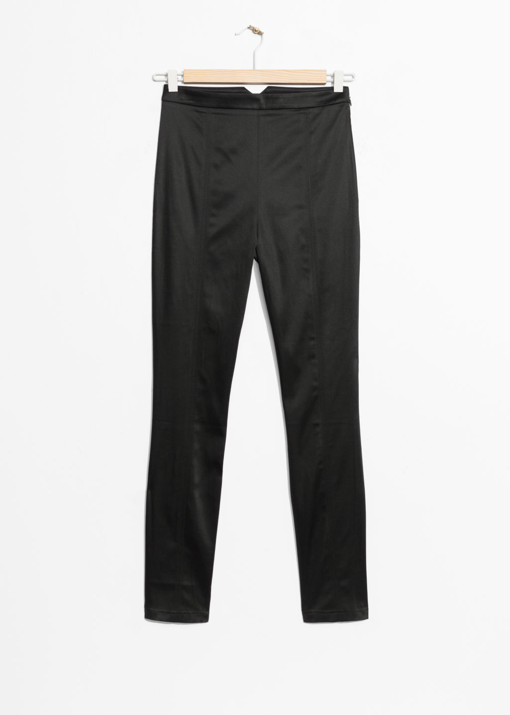 Front image of Stories high waist satin trousers in black