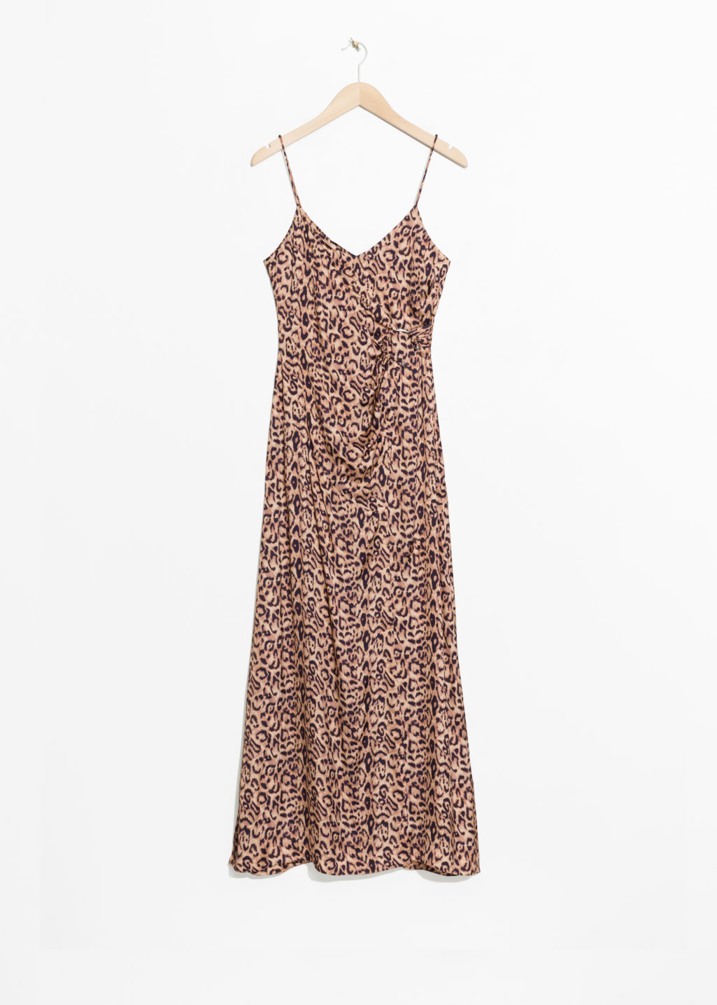 Front image of Stories leo thin strap dress in beige