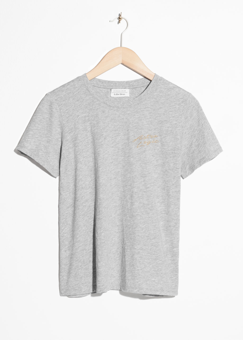 Front image of Stories organic cotton tee in grey