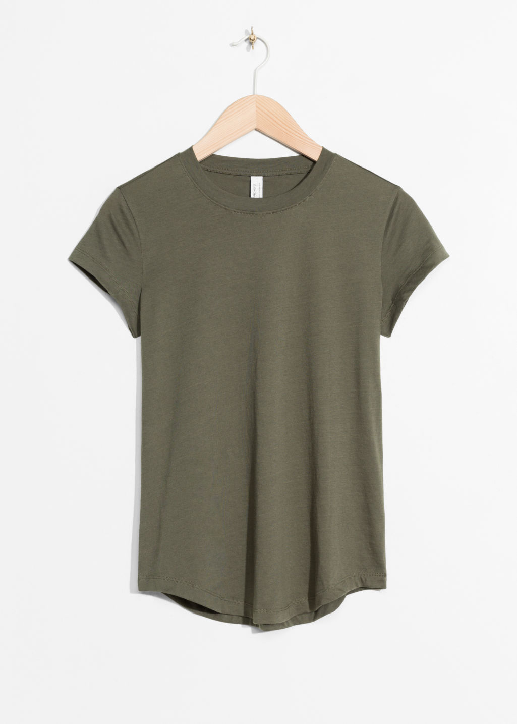 Front image of Stories organic cotton t-shirt in green