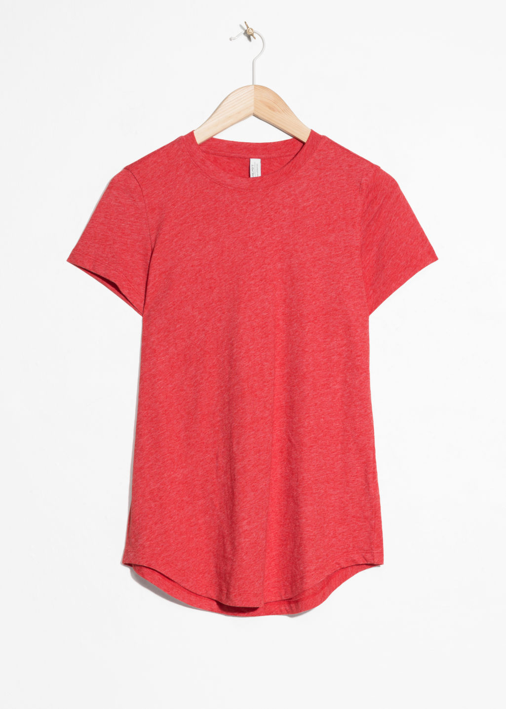Front image of Stories organic cotton t-shirt in red
