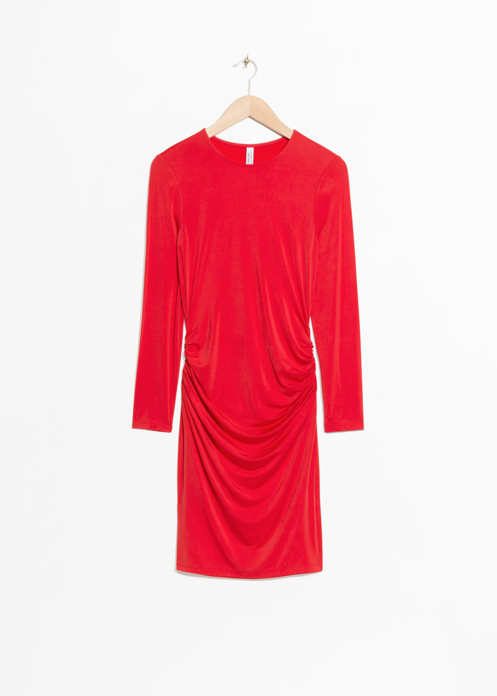 Front image of Stories draped mini dress in red
