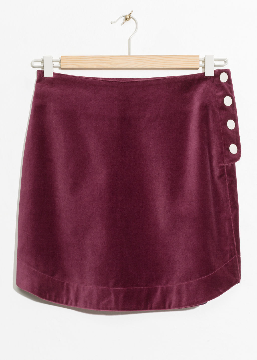 Front image of Stories velvet mini skirt in red