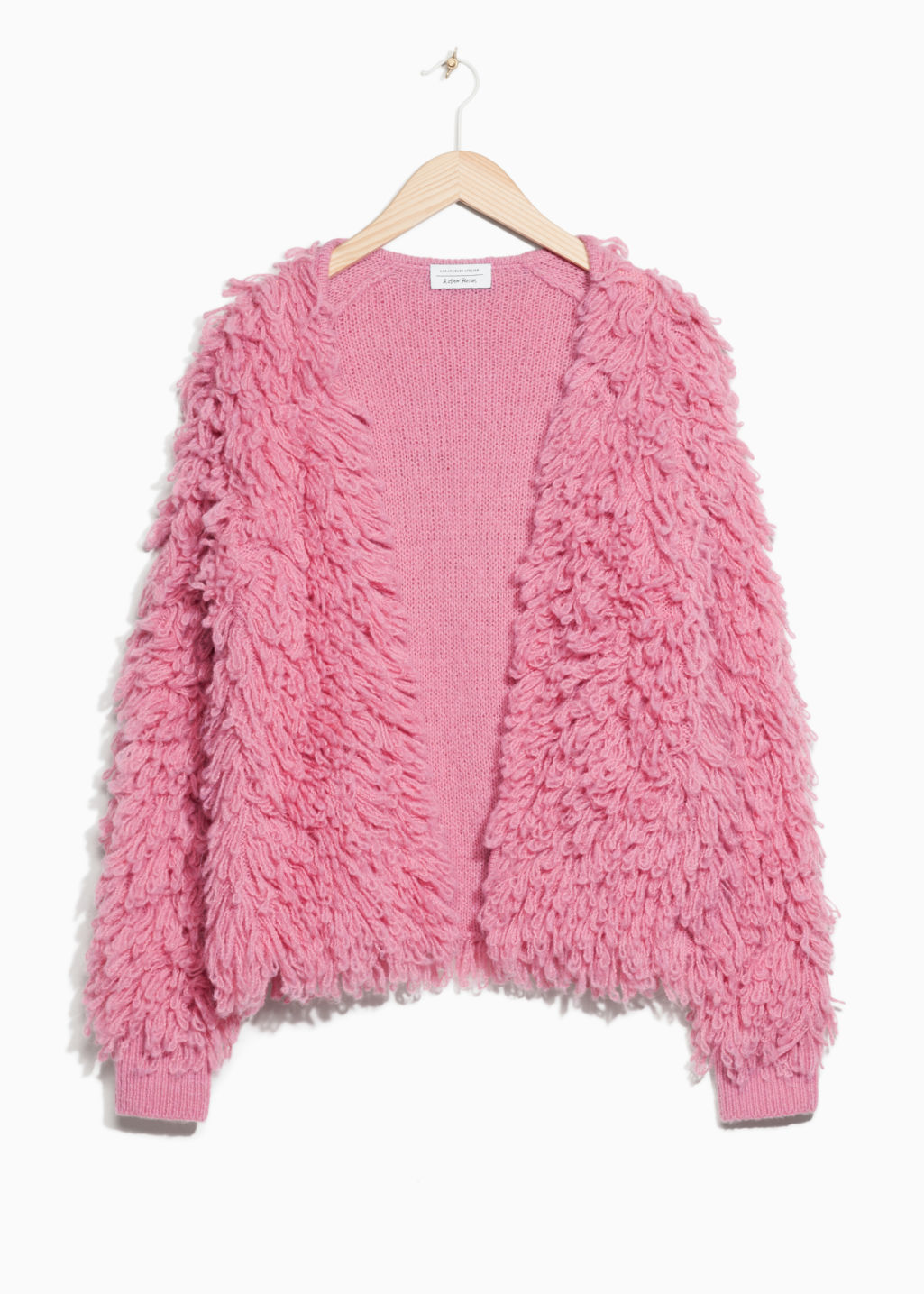 Front image of Stories shaggy wool-blend knit in pink