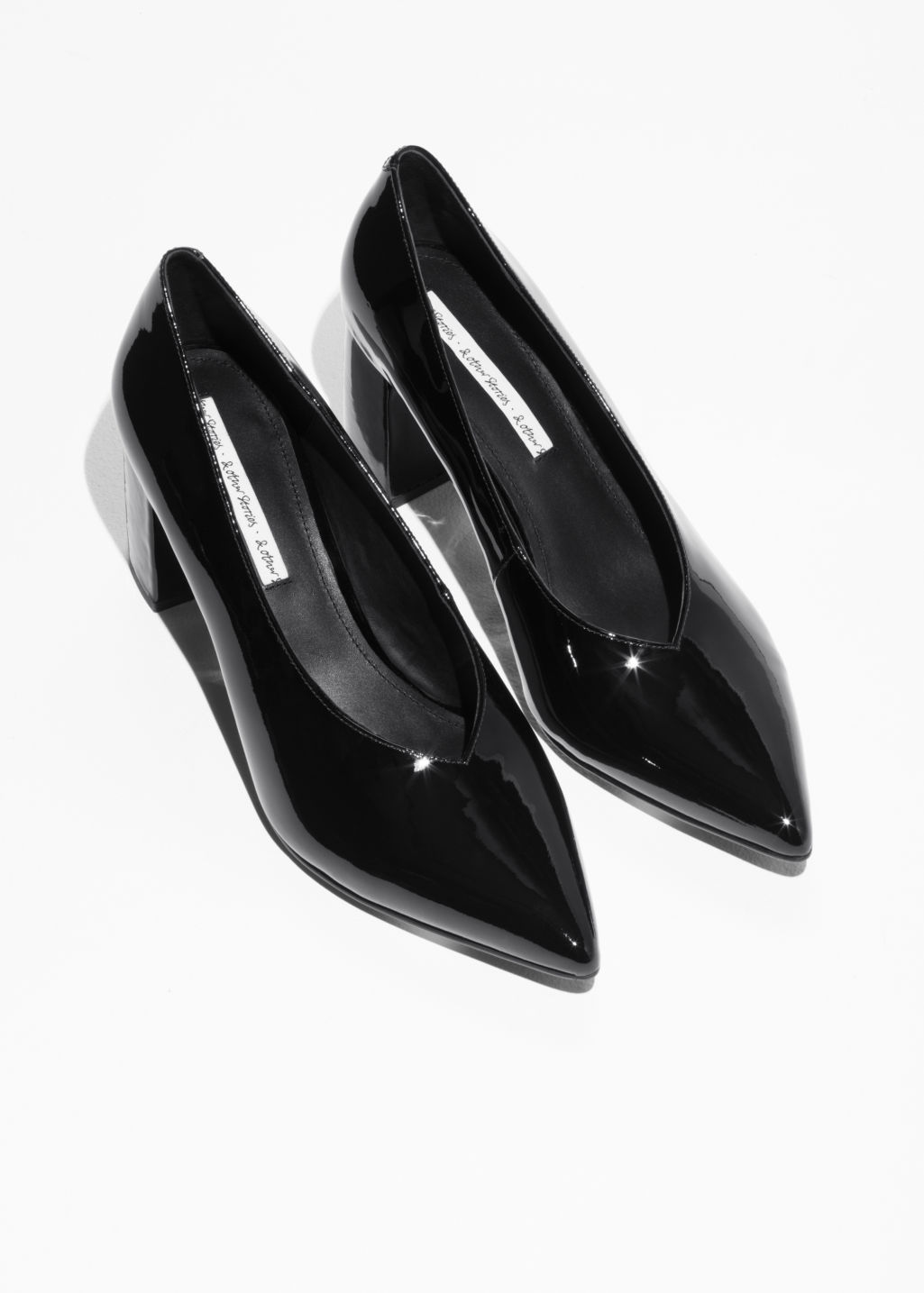 Back image of Stories patent leather pumps in black