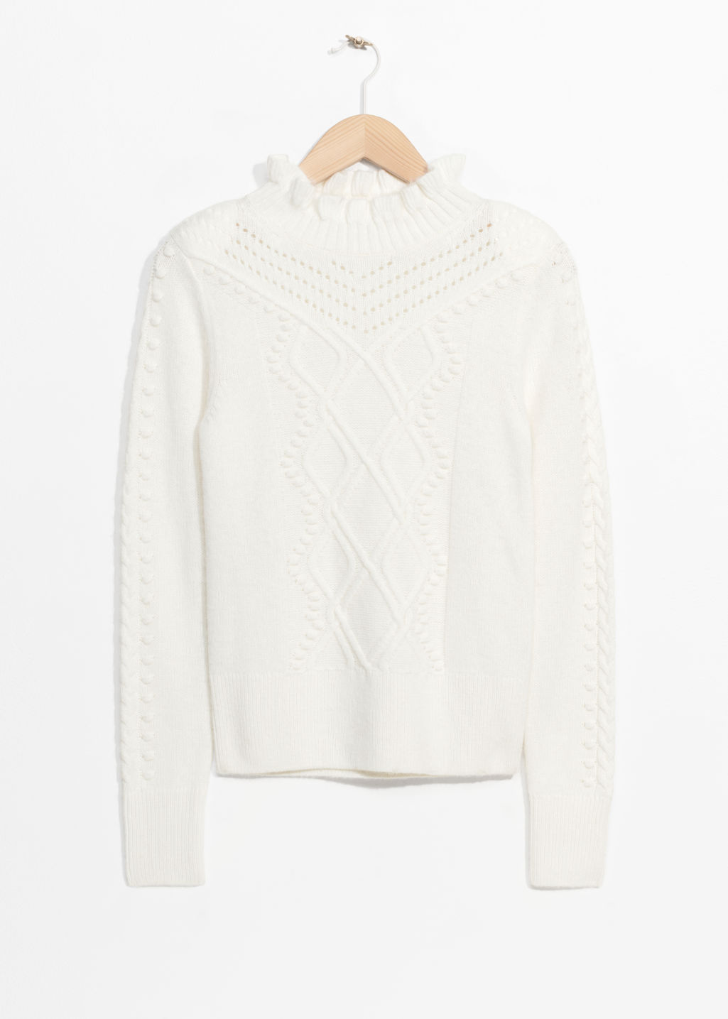 Front image of Stories cable braid jumper in white