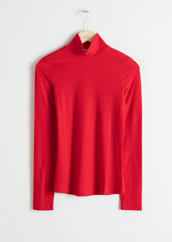 Front image of Stories jersey turtleneck in red