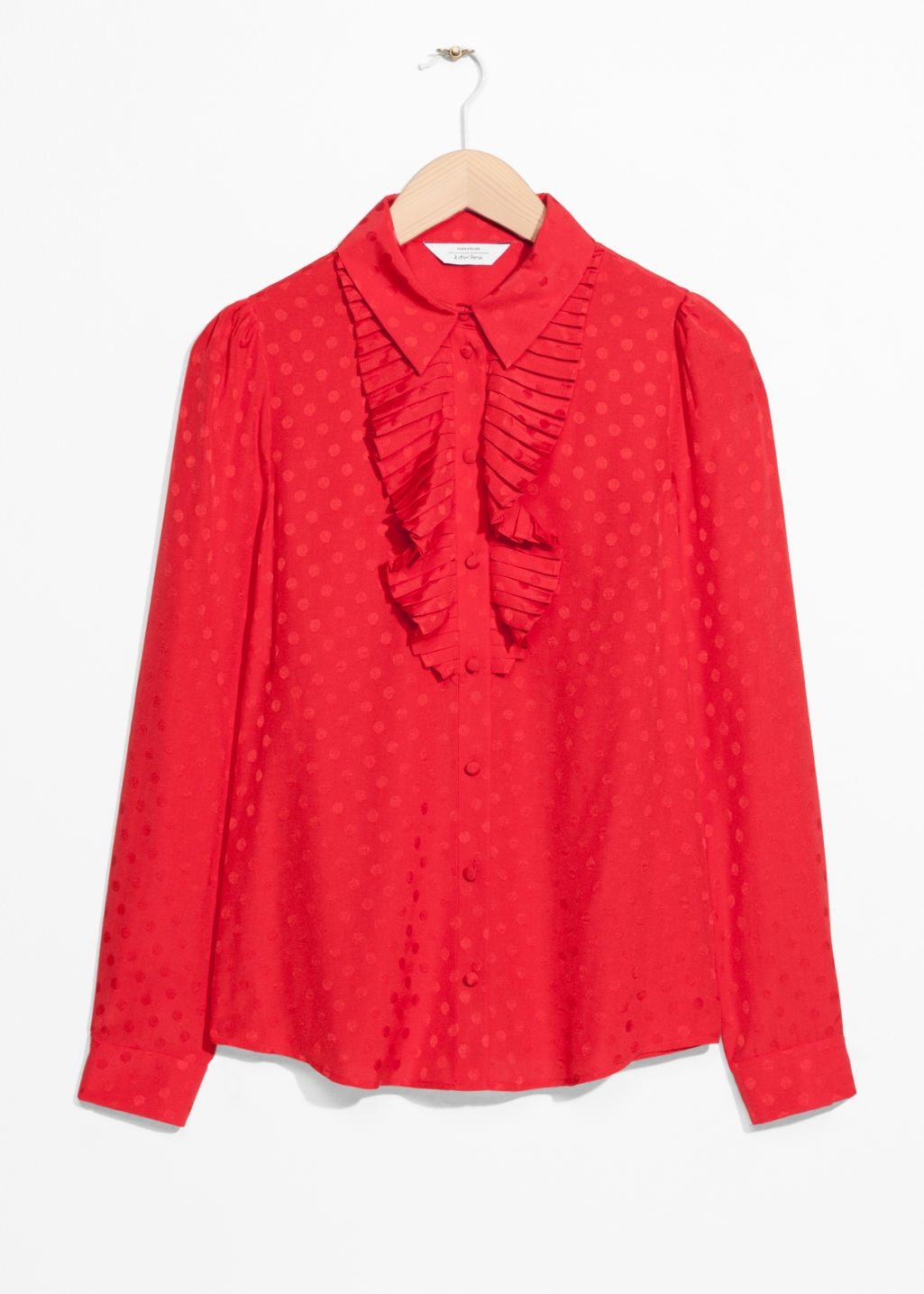 Front image of Stories ascot ruffle blouse in red