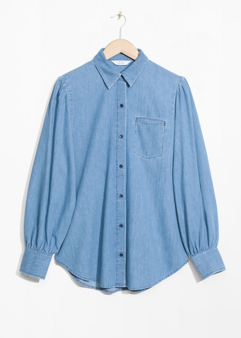 Front image of Stories denim shirt in blue