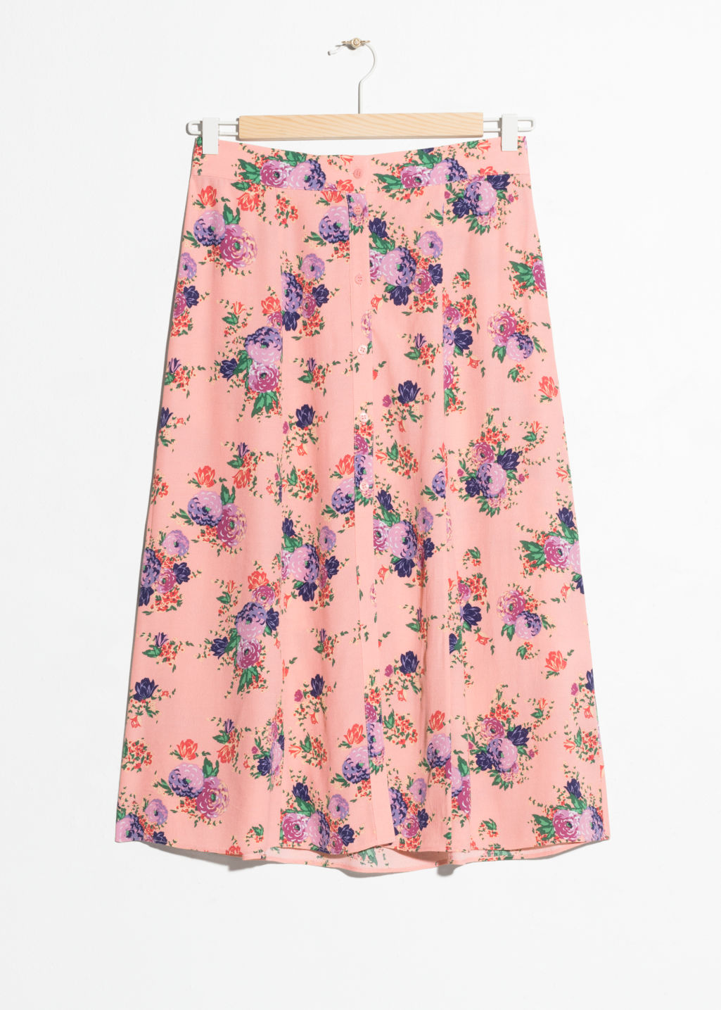 Front image of Stories poppy print midi skirt in orange