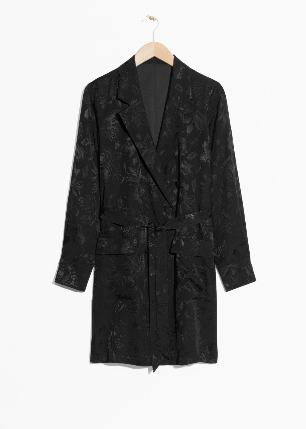 Front image of Stories  long-line blazer in black
