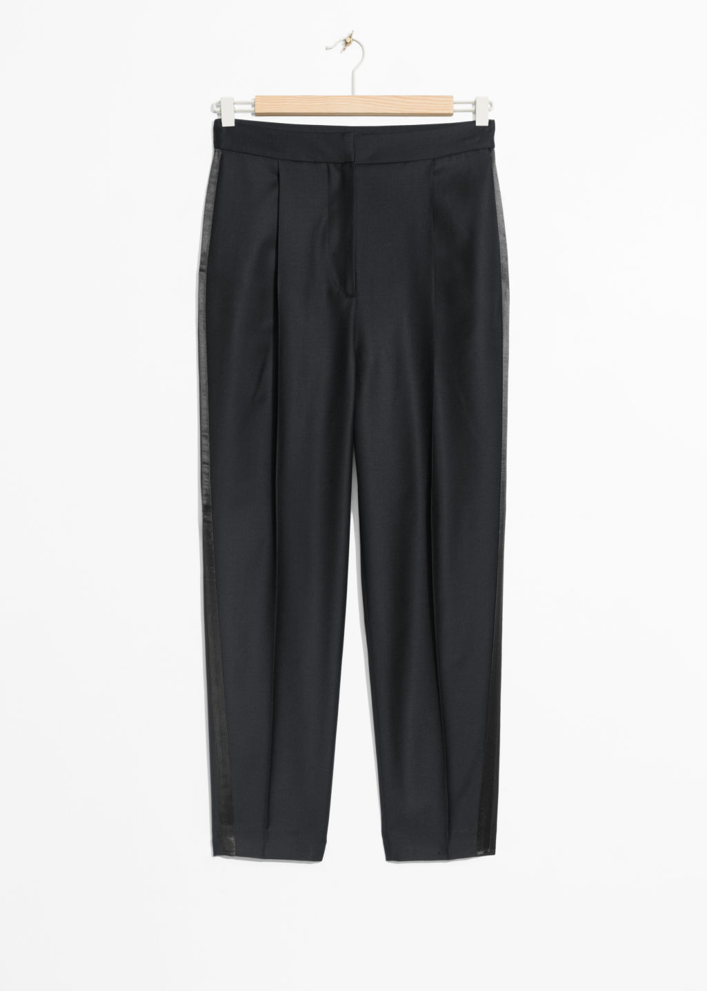 Front image of Stories side satin panel trousers in black