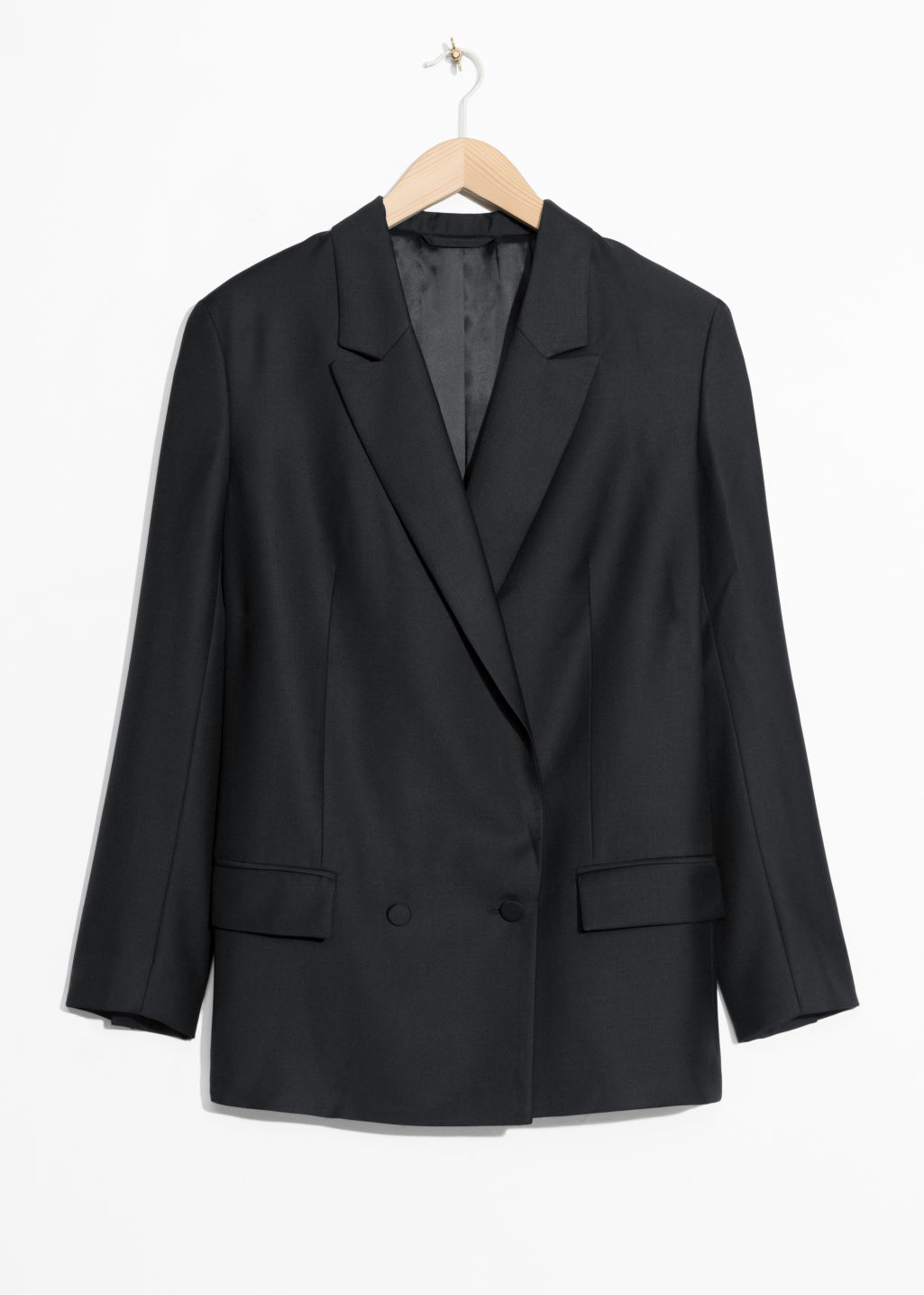 Front image of Stories double breasted blazer in black
