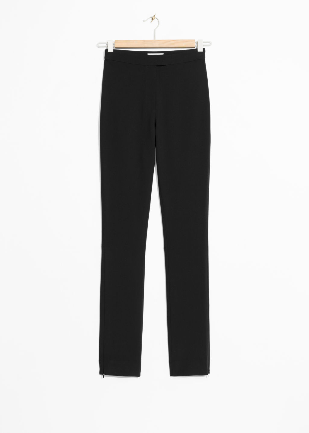 Front image of Stories high waist trousers in black