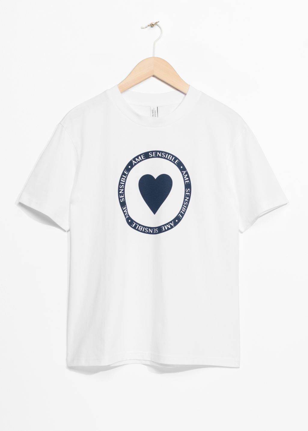 Front image of Stories heart print t-shirt in white