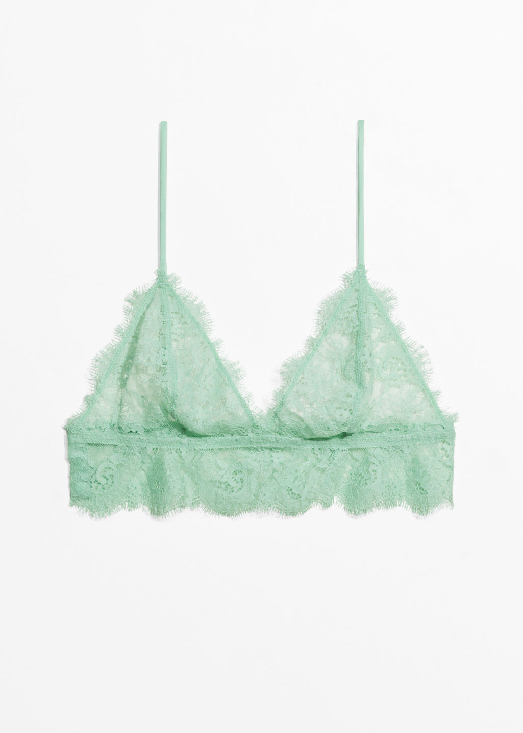 Front image of Stories triangle lace bralette in green
