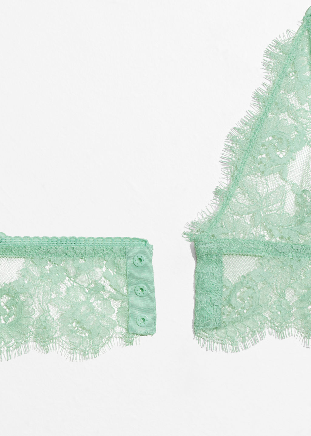Back image of Stories triangle lace bralette in green