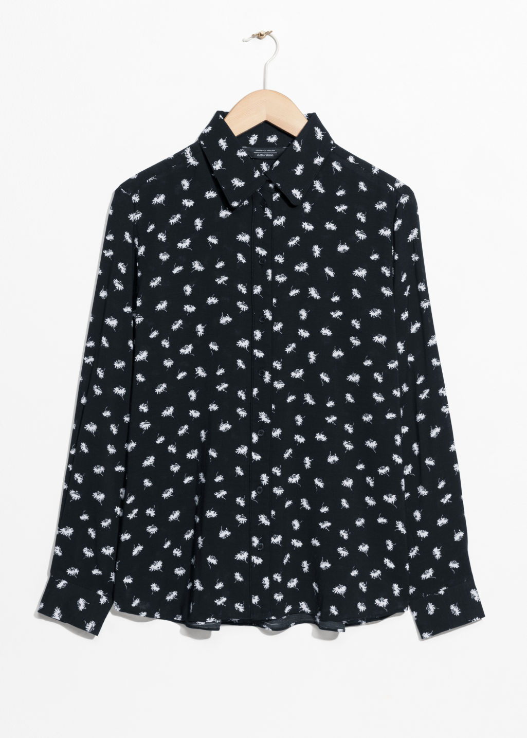 Front image of Stories button down shirt in black