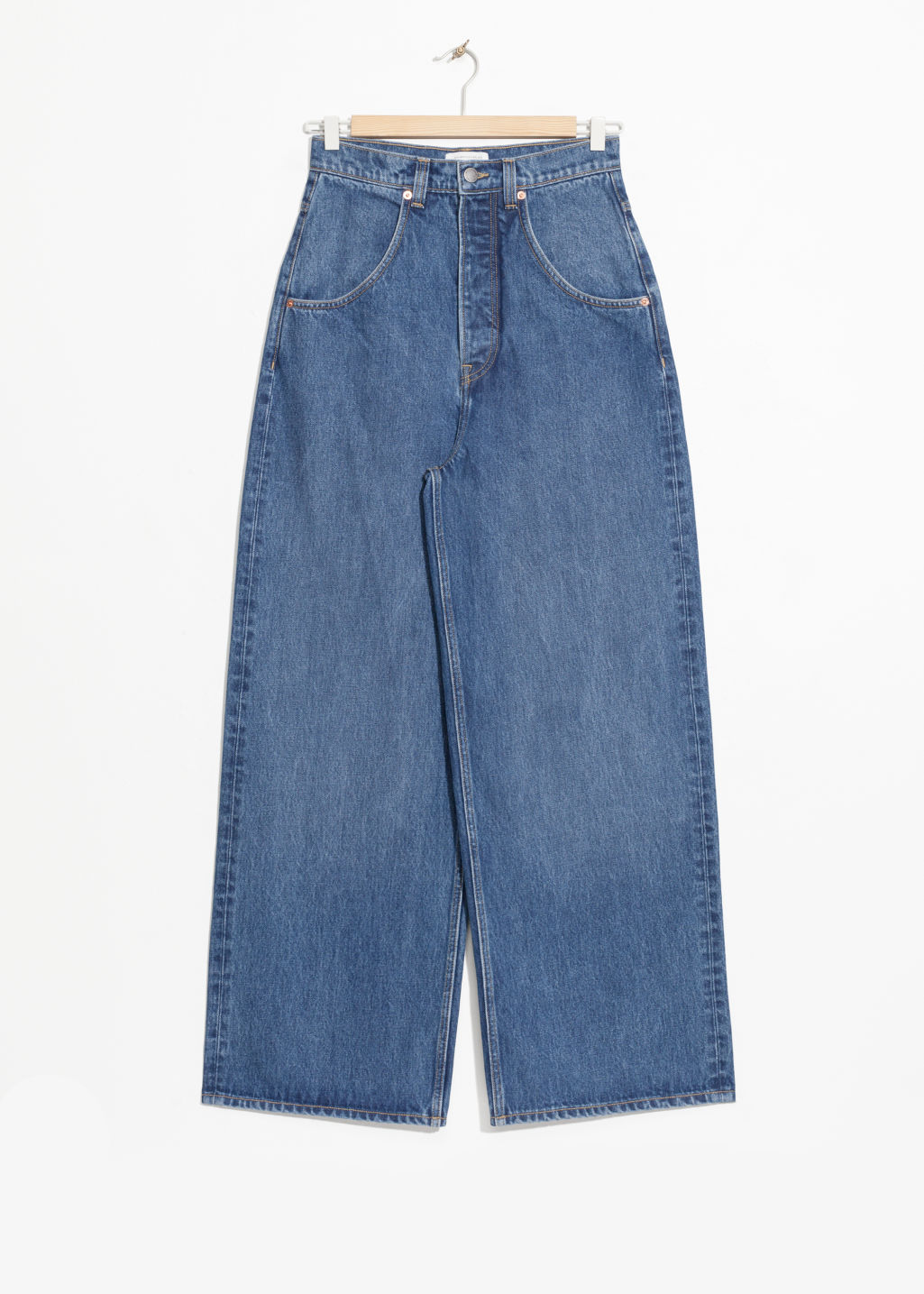 Front image of Stories wide high waisted jeans  in blue