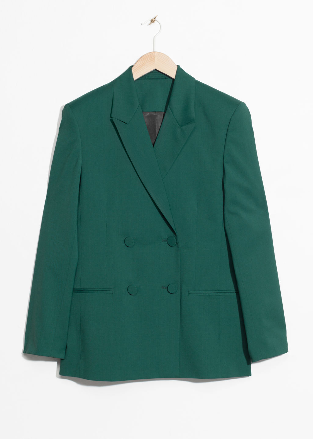 Front image of Stories oversized wool-blend blazer  in green