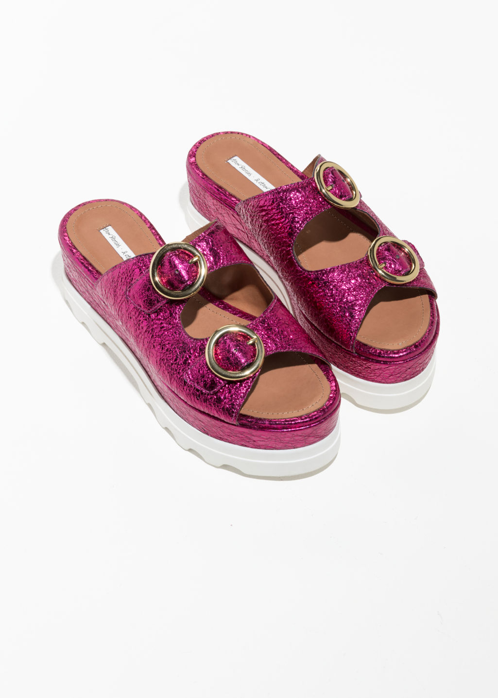 Back image of Stories circle buckle platform sandals in pink