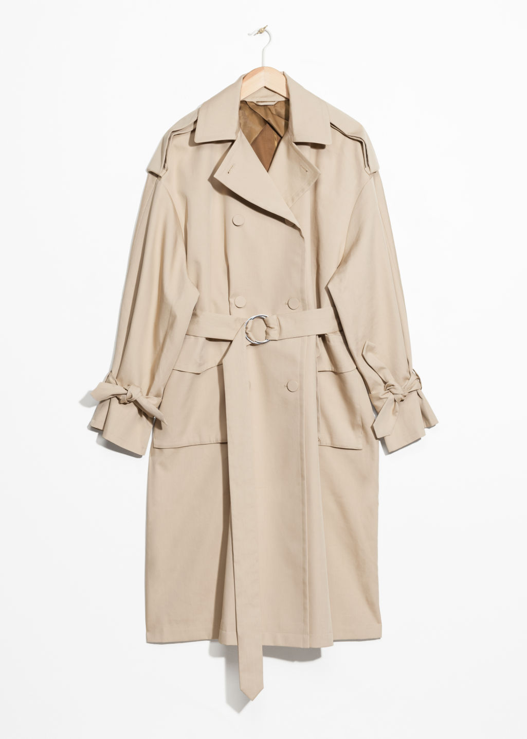 Front image of Stories oversized trench coat in beige