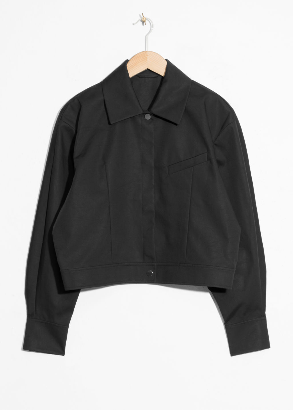 Front image of Stories cropped jacket in black